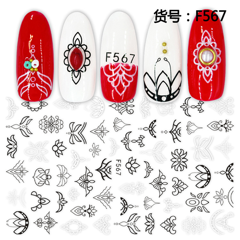 Image 5 - 1 sheet 3D Nail Sticker Black White Leaf Totem Nail Art Sticker Tattoo Adhesive Decals Slider Tips Nail Art Decorations 2019 new-in Stickers & Decals from Beauty & Health
