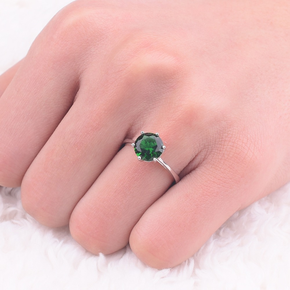 Hot Sale Brand 925 sterling silver ring classic six claw 3 carat 8mm ...