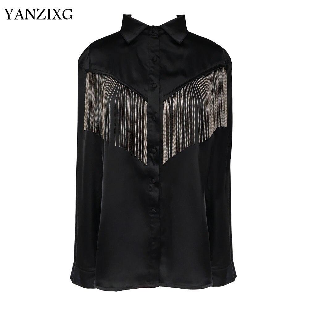 Femme chemise chaîne gland couture noir femmes Blouses gland noir à manches longues ample sauvage chemise femmes décontracté Q658