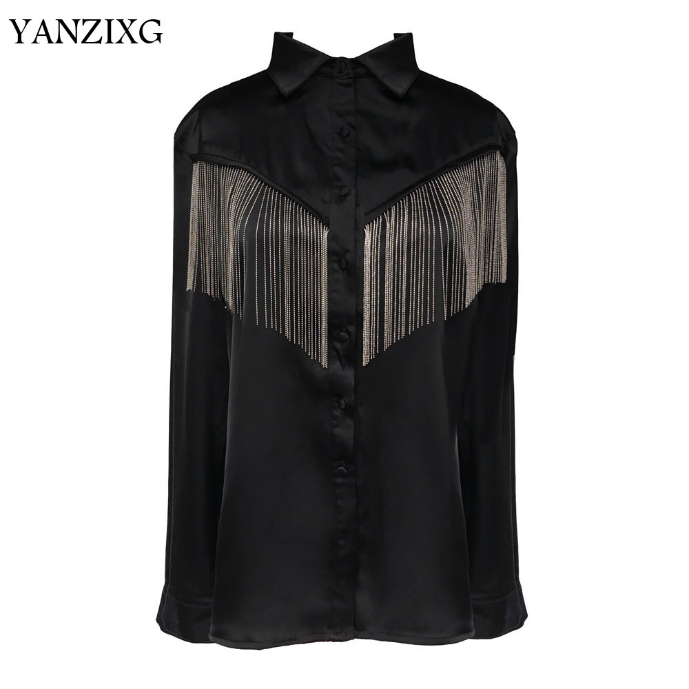 Koszula damska łańcuszek Tassel szwy czarne kobiety bluzki Tassel czarny z długim rękawem luźny, szalony koszula kobiety Casual Q658 w Bluzki i koszule od Odzież damska na AliExpress - 11.11_Double 11Singles' Day 1