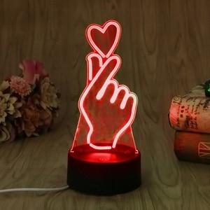 Image 3 - ヤムusbノベルティ7色ロマンチック変更指ハートledナイトライト3dデスクテーブルランプ魔法の夜の光