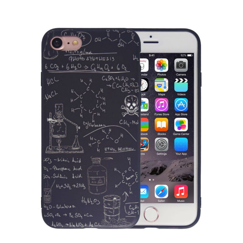 Funny Chemistry Mathematics Silicone Case For iPhone 5 5S SE 6 6S 7 7 Plus Dirty-resistant Scrub Printed Phone Bag Case