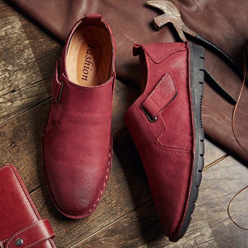 Glissent Printemps Baidly Véritable De Mocassins Noir Les Et En Occasionnels Sur Hommes rouge Automne Chaussures Appartements Cuir c54Aq3RLj