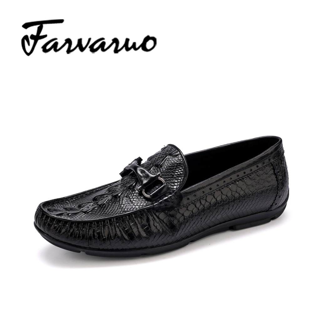 Farvarwo Genuine Leather Men's Dress Shoes Luxury Brand Wedding Casual Loafers Slip Moccasins Italian Alligator Crocodile Shoes farvarwo genuine leather alligator crocodile shoes luxury men brand new fashion driving shoes men s casual flats slip on loafers