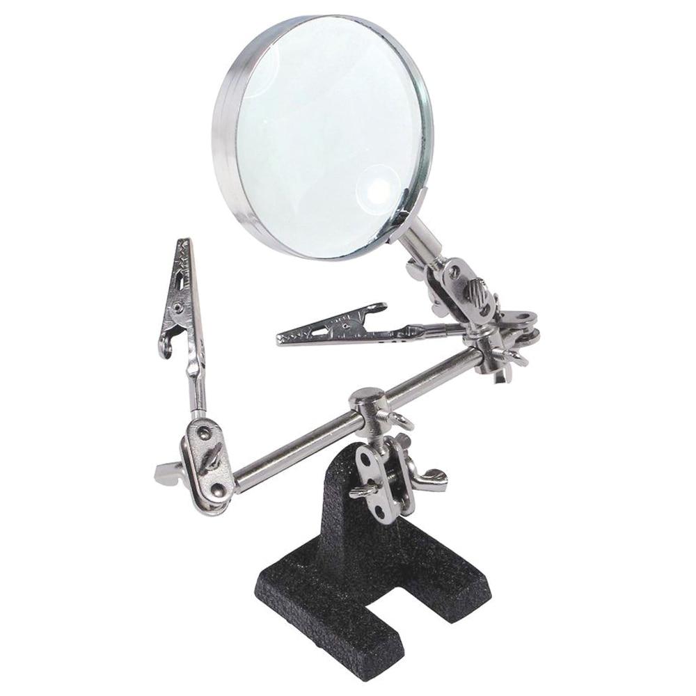 Lengvai nešiojamas trečiųjų rankų įrankių litavimo stovas su 5X padidinamuoju stiklu, 360 laipsnių kampu besisukančiomis, reguliuojamomis fiksavimo rankomis