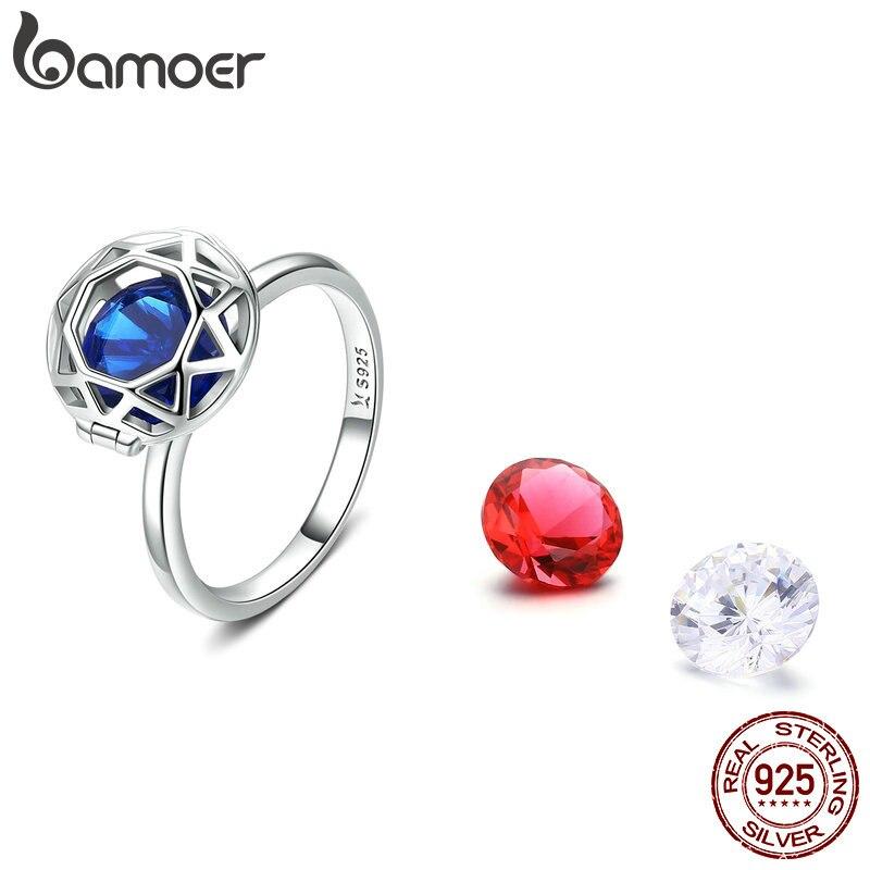 BAMOER DIY New 925 Sterling Silver 3 Colors Zircon Women Finger Rings For Women Engagement Wedding Jewelry SCR492