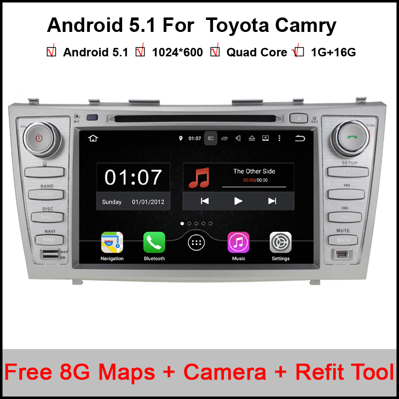 Camera Quad Core Android 5.1.1 Car DVD Player GPS for Toyota Camry 2007-2011 Support OBDll Subwoofer (DTV DAB+ Optional)