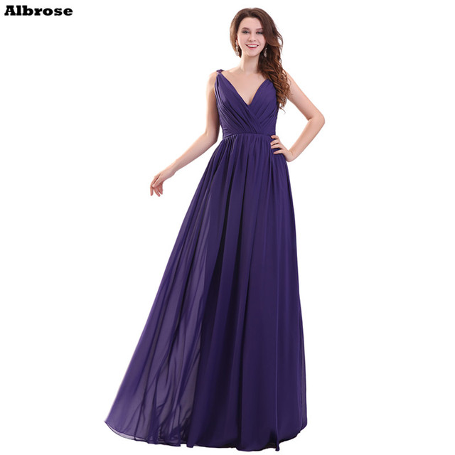 Blueviolet Cheap Simple Pleat Chiffon Bridesmaid Dresses V Neck Bridesmaid  Dress Long Formal Party Gowns Chic Women Gowns 50869f891f55