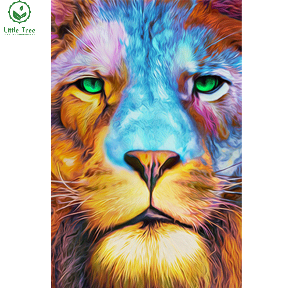 green eyed lion colored oil painting 3d diamond embroidery cross stitch set wall decor diy rhinestone
