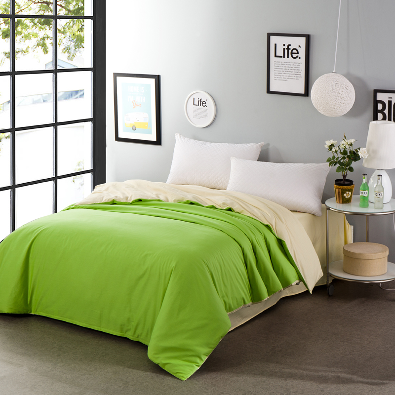Fruit green rice two-sided solid color 100% cotton home textile bedding bed comforter cover duvet cover soft 160*210cm size