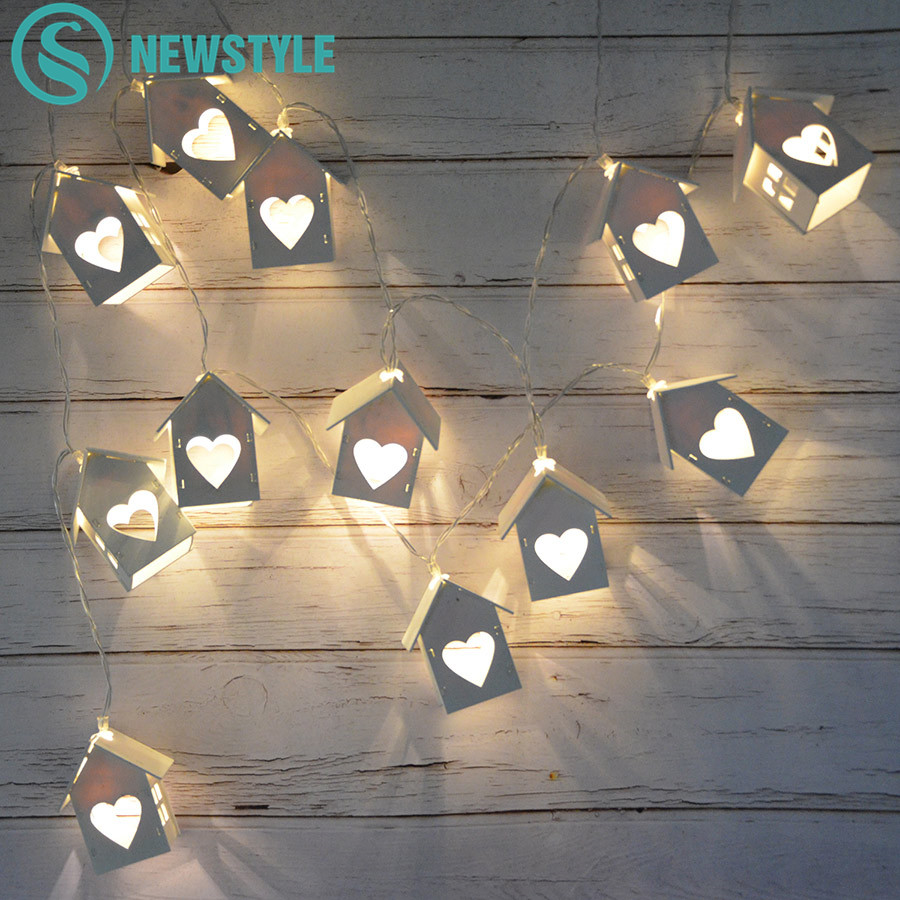 1.5m/3m Love Heart House String Lights 10led/20leds Fairy Lantern Indoor Decor Girl Room String Light Wedding Party Garland Xmas