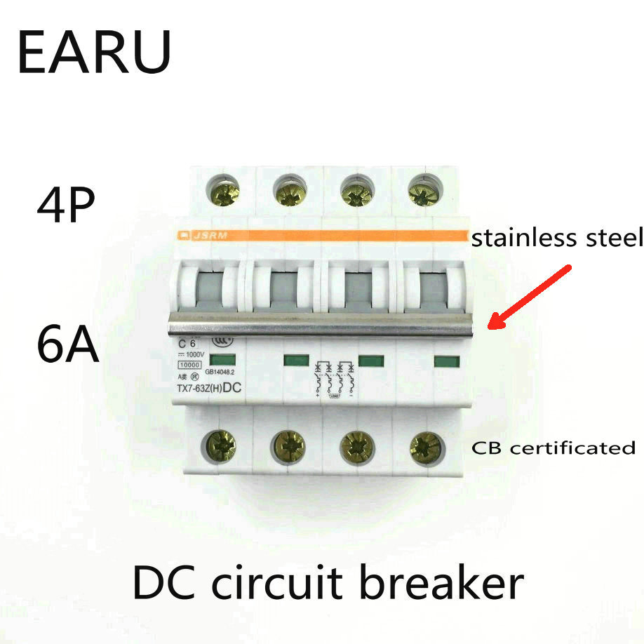 4P 6A DC 1000V DC Circuit Breaker MCB for PV Solar Energy Photovoltaic System Battery C curve CB Certificated Din Rail Mounted4P 6A DC 1000V DC Circuit Breaker MCB for PV Solar Energy Photovoltaic System Battery C curve CB Certificated Din Rail Mounted