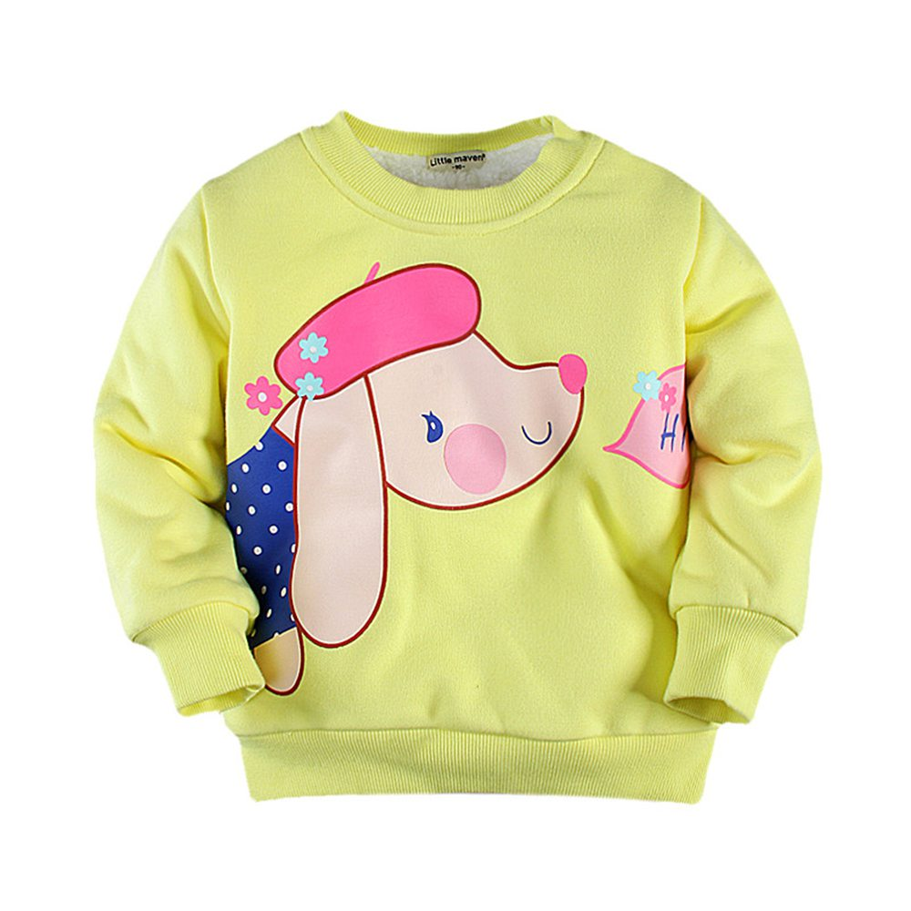 2-7T Toddler Fleece Sweatshirt Winter Solid Color Pullover Coat Thick Cotton Velvet Thermal Sweatshirt Hoodie Boy Girl