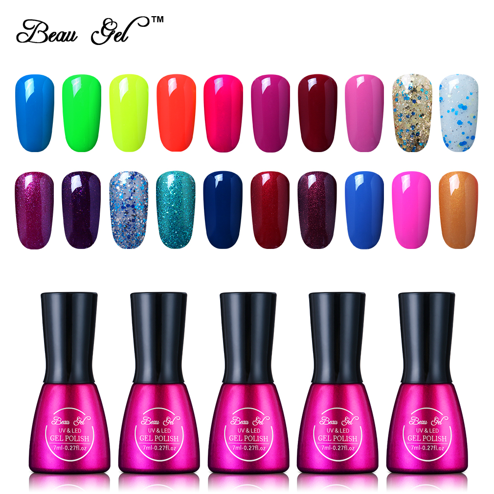 Beau Gel 7ml UV Gel Esmalte de uñas Larga duración Color puro Soak Off Gel Barniz Esmalte Laca Lak Vernis Esmalte semi permanente