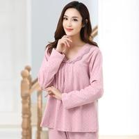 Autumn 100% Cotton Long Sleeve Pajamas For Women Sexy V neck Sleepwear Small Flower Female Lounge Pajama Sets Plus Size XXXL