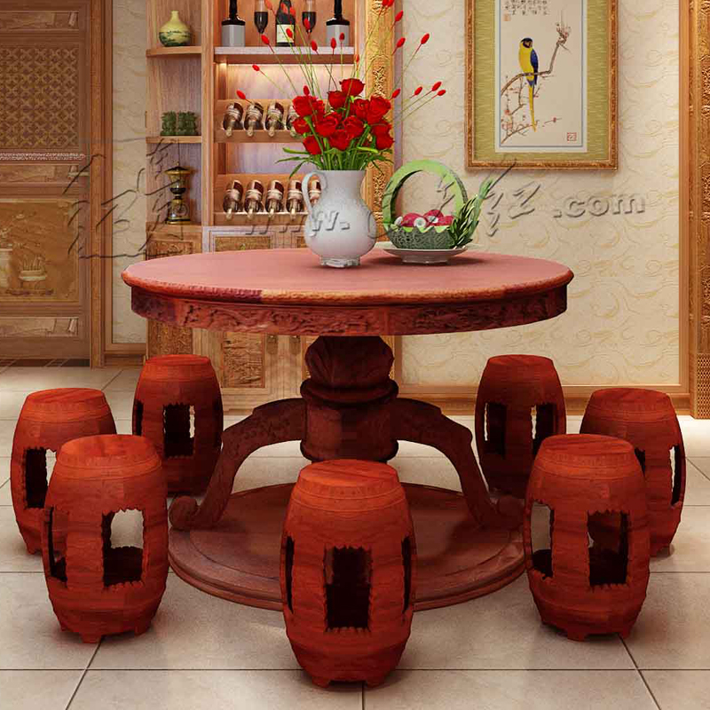 Patio Outdoor Garden Round Desk and 6 Stool Set Rosewood Living Room Oval Tulip Table Solid Wood Carved works small seat Carving