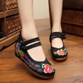 Женщины Мода Обувь Китайский Стиль 5 См Высокой Пятки Случайные Ткань Обувь Женщина Этнические Клинья Вышивка Обувь Красный + Черный SMYXHX-A0020