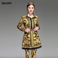 Womens Clothing European High Street Style Yellow Print Shirts Flare Mini Skirts Skinny Print Pants Sets