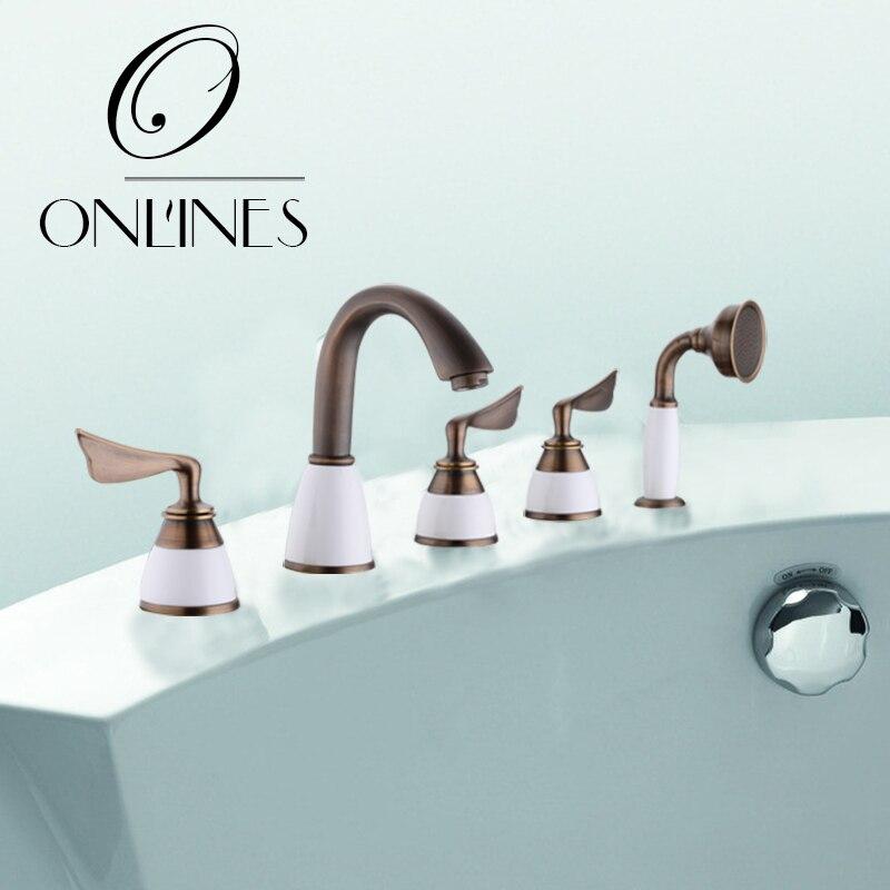 German online hot tub faucet sitting side cylinder Five-piece split rim type 5 hole bathtub faucet