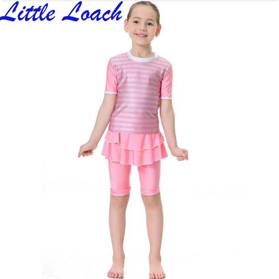 Hot Children Girl Striped Swimsuit Muslim Kids Girl Summer O-neck Short-sleeve Swimwear Slim Skirt Design 2 Pieces Beachwear