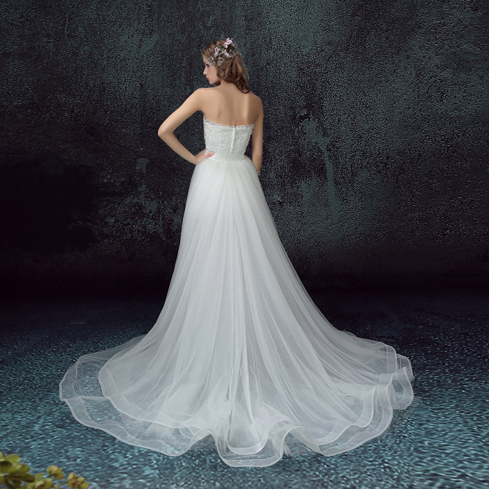 100% Real Photo Lace Wedding Dress Beach Bridal Gowns Removable ...
