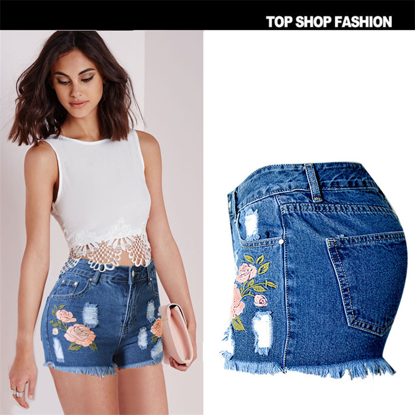 Liva girl Explosion paragraph popular personality 3D stereo flower embroidery frayed tassels jeans shorts women s