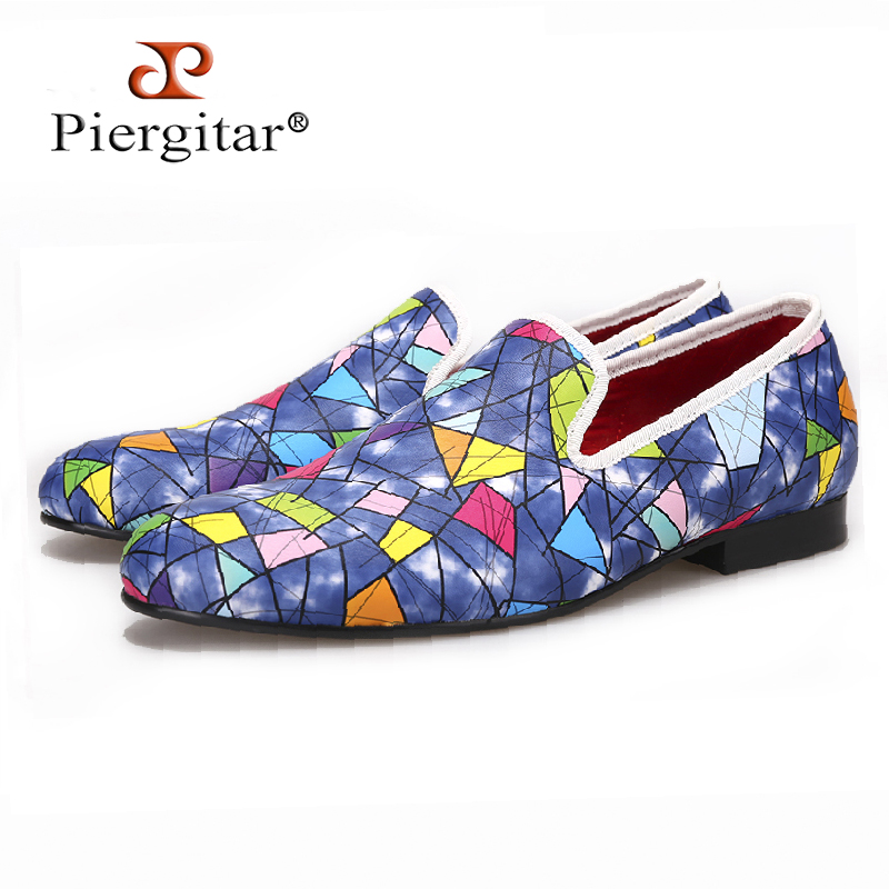 Piergitar 2017 New Handmade men loafers with Multi-color design Fashion party and show men's casual shoes male somking slippers simple men s casual shoes with criss cross and color block design