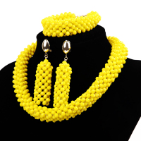 Exclusive Yellow Nigerian Wedding African Jewelry Sets 18K Gold Dubai Jewelry Set Indian Bridal Beads Set