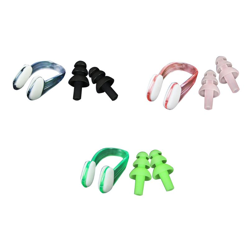 Soft Silicone Swimming Ear Plugs Nose Clip Comfortable Waterproof Protector Adjustable Comfortable Unisex Swim Accessory in Nose Ear Clips from Sports Entertainment