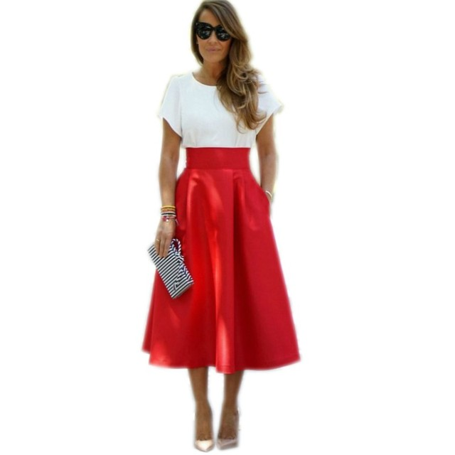 573469f765 Customized Red Satin Skirt Wide Zipper Waistline A Line Tee Length Midi  Skirt With Pockets Fashion Women Skirts