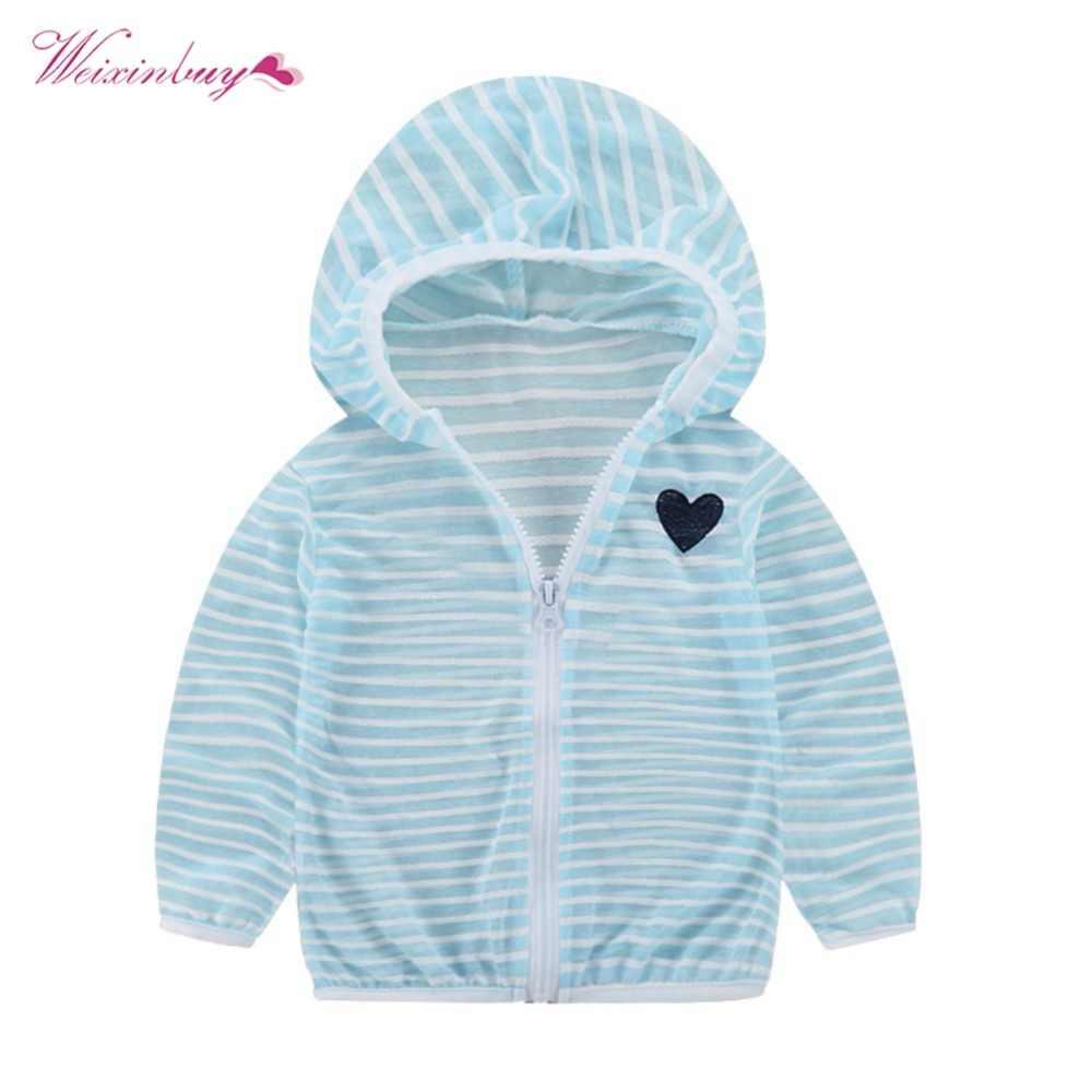 WEIXINBUY תינוק ילדי מעילי ילדה ילד פסים מזגן חולצה הגנה מפני שמש לנשימה
