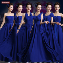 JaneyGao Bridesmaid Dresses For Wedding Party Long Chiffon Royal Blue Elegant Lace Up Bridsmaid Gown Can Be Custom Size 2019 New