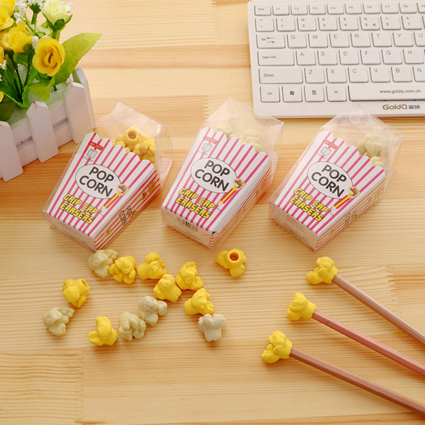 12pcs/set Novelty Popcorn Erasers Kids Study Pencil Eraser Correction Stationery School Supplies Students Drawing Wiping Off