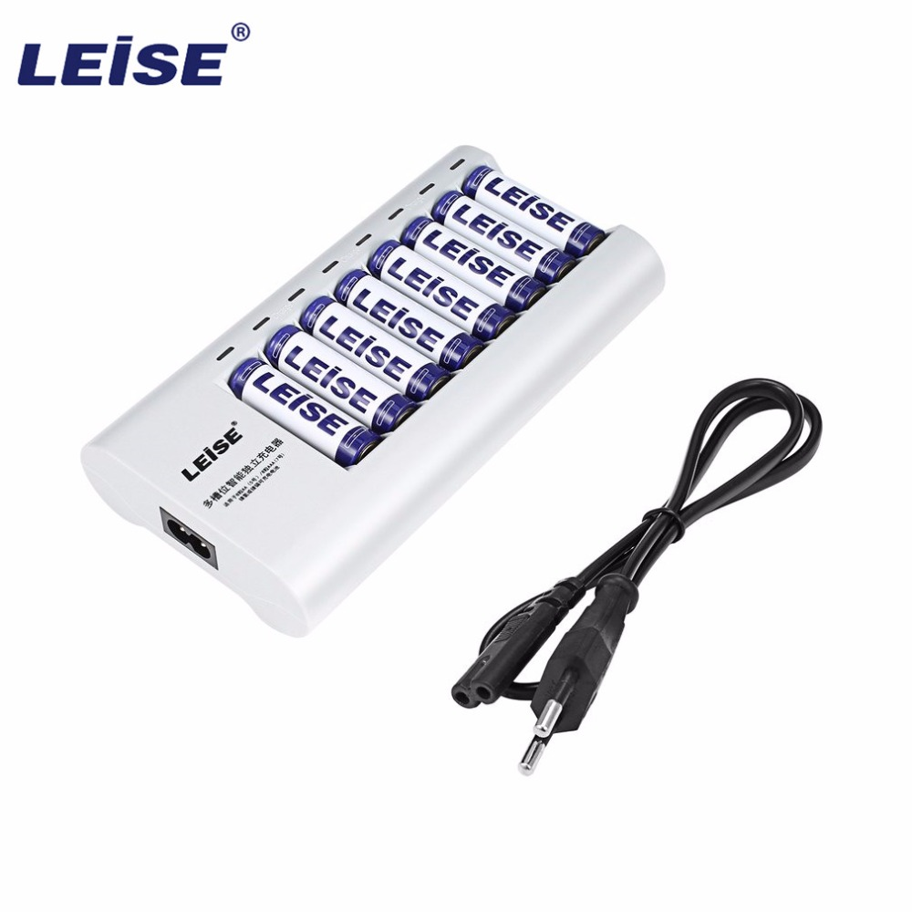 LEISE-858 Intelligent Fast Independent Charger Set 8pcs 2200mAh rechargeable batteries with EU plug and Power Cable Line