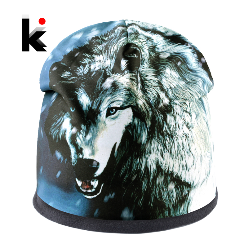 Top Fashion Skullies Beanies Men Wolf Pattern Winter Bonnet Caps Women Hip Hop Hats Streetwear Punk Bone Gorras Thick Ski Hat