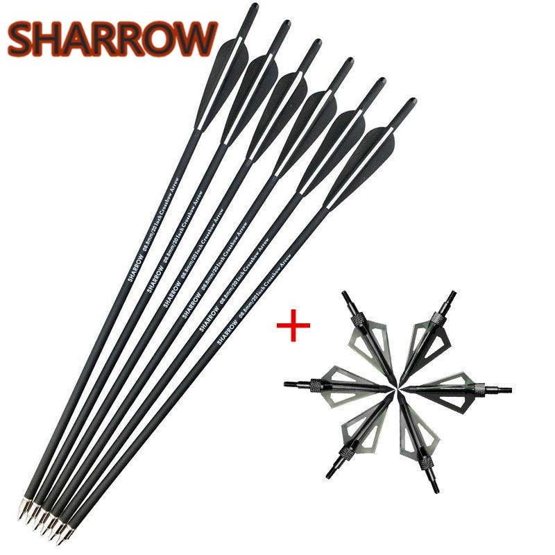 "6pcs 16/"" Archery Fiberglass Arrows Crossbow Bolts Screw in Point Tips  Hunting"