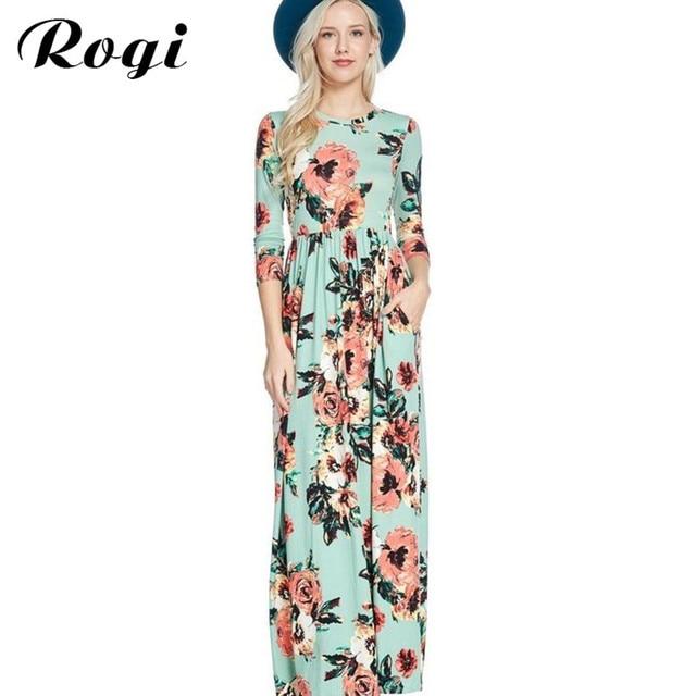 85c69410ccf Rogi Vestidos De Playa 2019 Floral Printed Long Maxi Tunic Dress Women  Vintage Boho Beach Dresses Female Party Dress Largo Mujer
