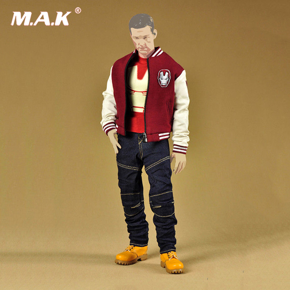 MCTOYS F-027 1/6 Baseball Jacket Red Coat Male Clothing Sets IRON MAN F 12