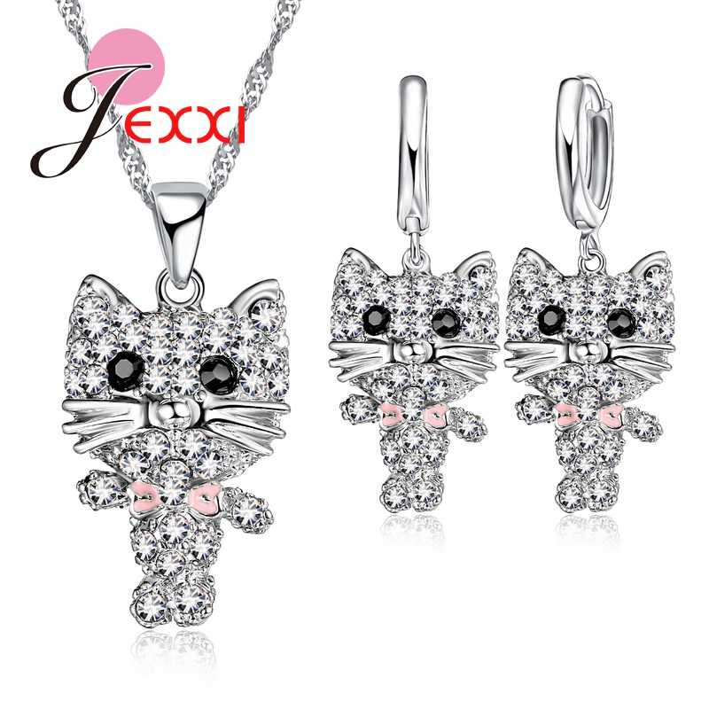 Lovely Cubic Zirconia Cute African AAA Cat Collier Necklace 925 Sterling Silver  Drop Earrings Sets Party Anniversary Jewelry