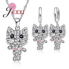 Lovely Cubic Zirconia Cute African AAA Cat Collier Necklace 925 Sterling Silver Drop Earrings Sets Party Anniversary Jewelry(China)