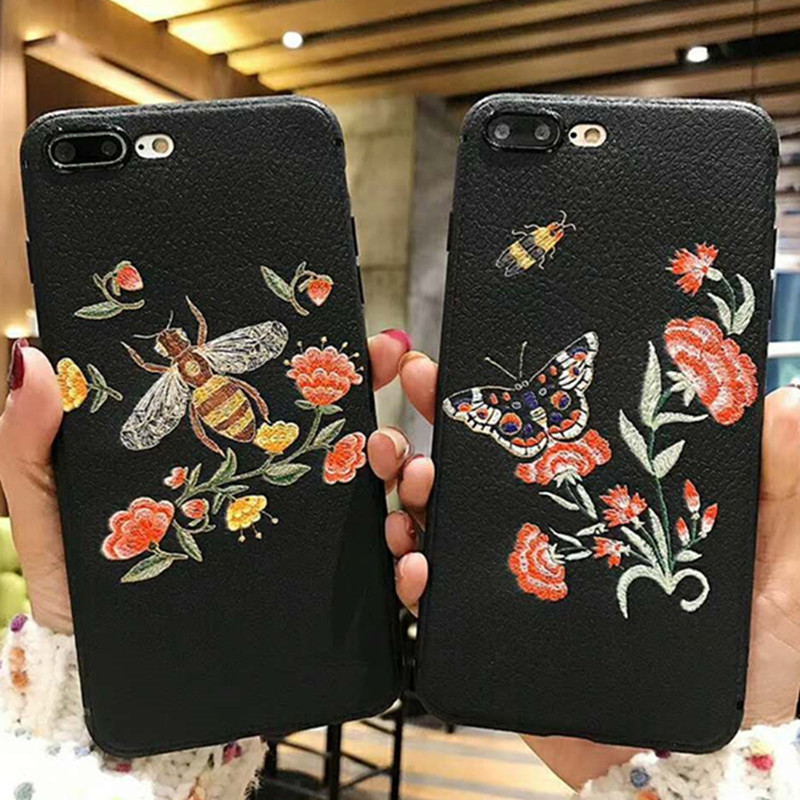 3D Relief Embroidery Bee Phone Case For iPhone 6 Case iPhone 8 7 Litchi Texture Soft TPU Cover For iPhone 7 8 Plus iPhone X XS iPhone