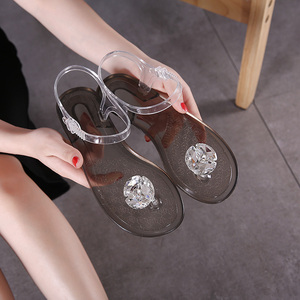 Image 2 - Ms. Summer Transparent  Sandals Rhinestone Flowers sandal Flat with Flip Crystal women slipper Beach Shoes Womens Shoes Simple
