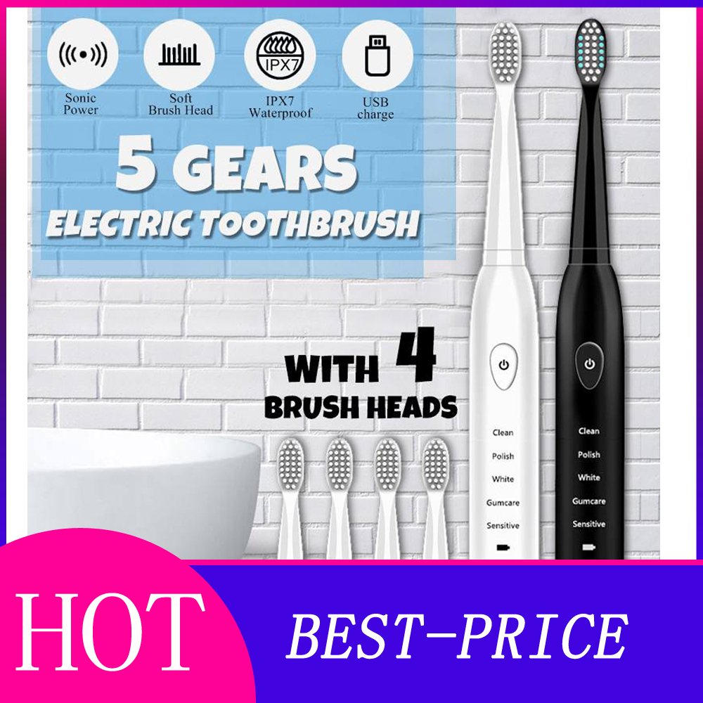 Ultrasonic Sonic Electric Toothbrush USB Charge Rechargeable Tooth Brushes Timer Teeth Brush With 4 Pcs Replacement Heads image