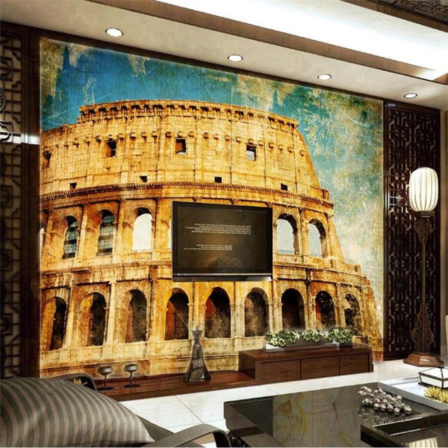 Beibehang Custom Wallpaper Vintage Rome Arena Colosseum Stamp Postcard Photograph Mural Background Wall Decorations