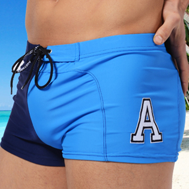 8d5fa4ac194 Summer Men Boxers Trunks Swimwear A Letter Printed Swimsuits Tight Bikini  Undies Sexy Sports Swimming Shorts Surfing Beach Wear
