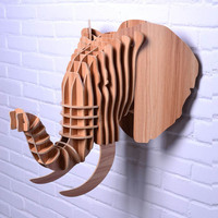 NODIC elephant head for wall hanging,wood animal head wall decoration,decorative wooden elephant,DIY,elephant home decor