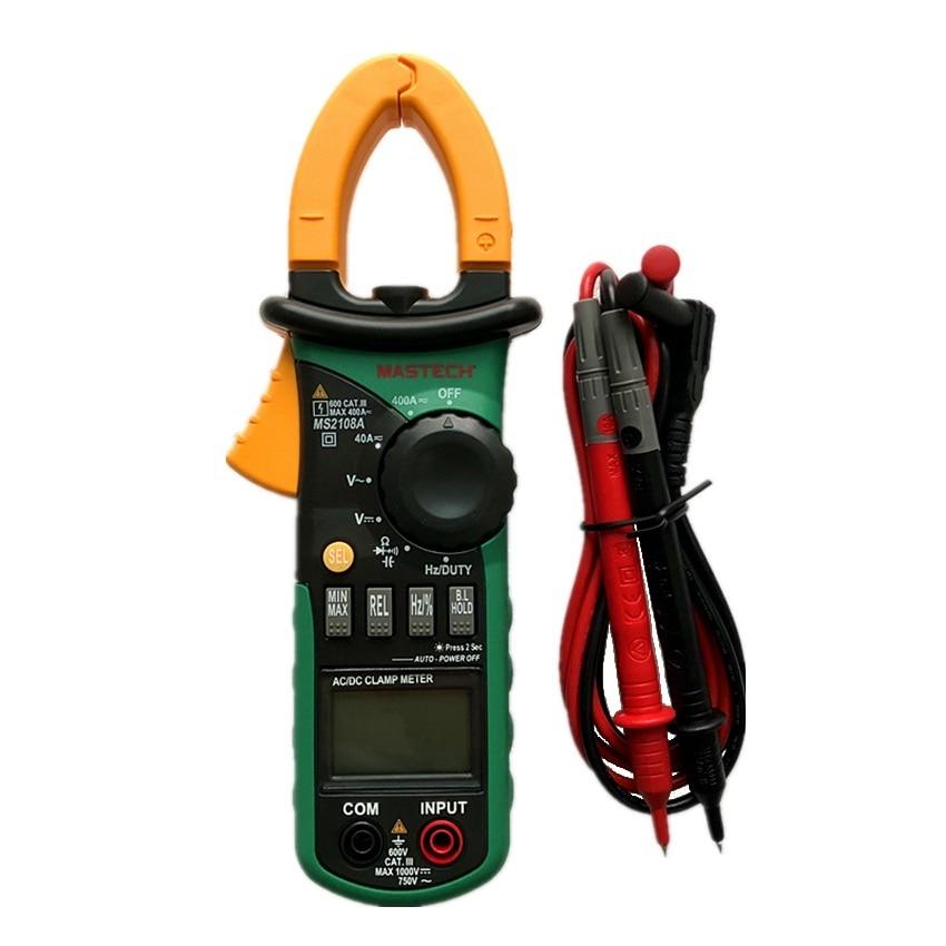 MASTECH MS2108A Auto Range Digital Clamp Multimeter 4000 Counts DC AC Voltmeter Ammeter Current Resistance Tester