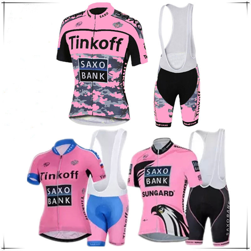 pink color women bank 2017 Cycling team jersey bike shorts set Ropa Ciclismo Summer Pro Team cycling wear 100% polyester clother