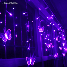 3.5m 95led fairy icicle led butterfly curtain light Outdoor Home Christmas Wedding garden party decoration AC110V 220V