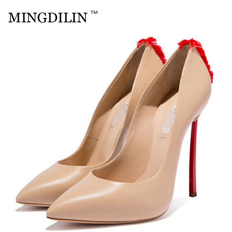 MINGDILIN Sexy Women's High Heels Shoes Plus Size 33 43 Woman Shoes Pointed Toe Apricot White Wedding Party Pumps Stiletto 2018